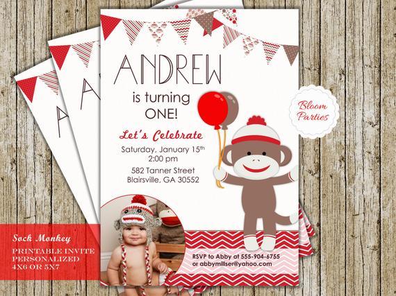 Sock Monkey Birthday Invitation First Birthday 1st Birthday