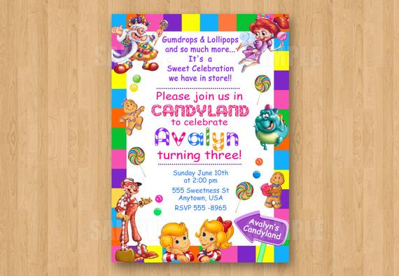 Candyland Candy Theme Girl Birthday Party Personalized