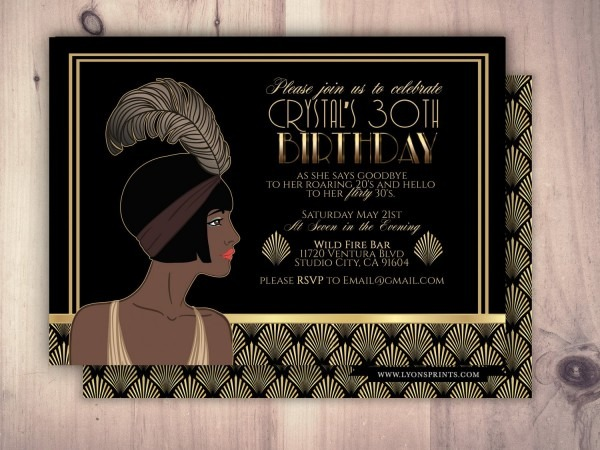 Great Gatsby Birthday Invitation, Roaring 20's, Hollywood Film