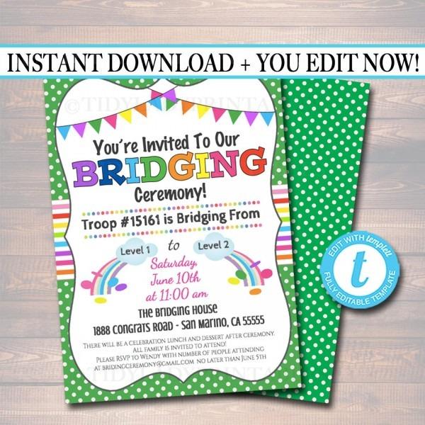 Bridging Invitation Instant Editable Template Bridging From