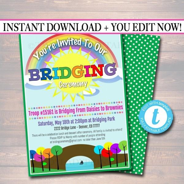 Editable Bridging Invitation Instant Download Bridging