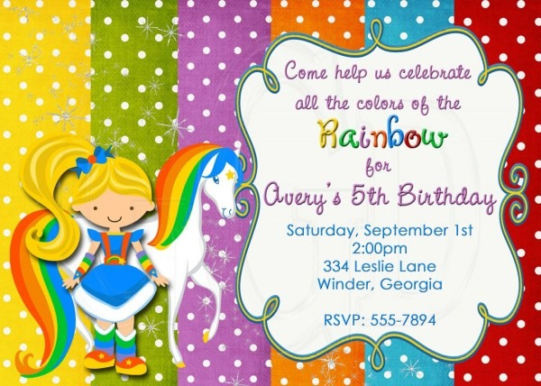 Rainbow Brite Inspired Birthday Invitation Rainbow Brite