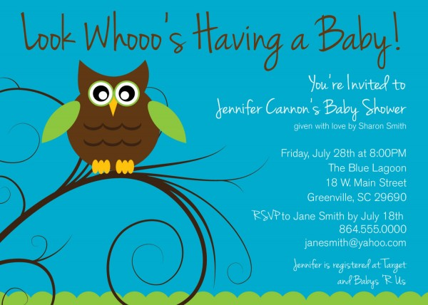 Baby Shower Invitations, Owl Boy Or Girl Gender Neutral Turquoise