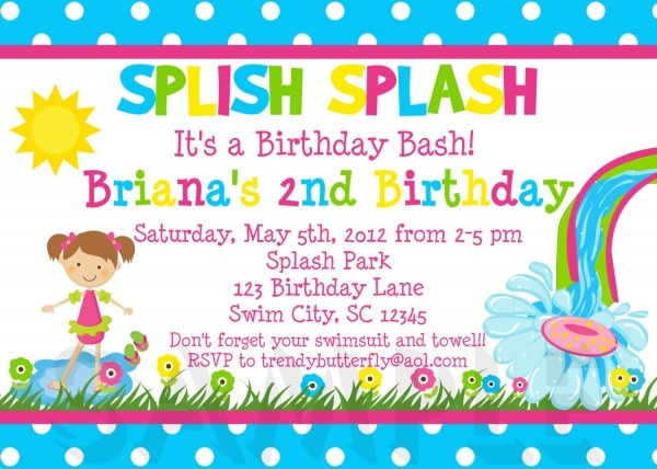 Girls Pool Party Invitations , Summer Birthday Invite, Pool Party