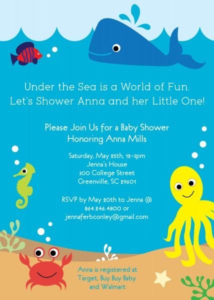 Under The Sea Baby Shower Invitations, Creatures Boy Girl Gender