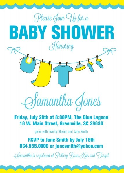 Baby Shower Invitations, Yellow Blue Baby Clothes, Clothesline