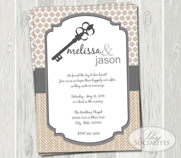 Skeleton Key Invitation Wedding Bridal Shower