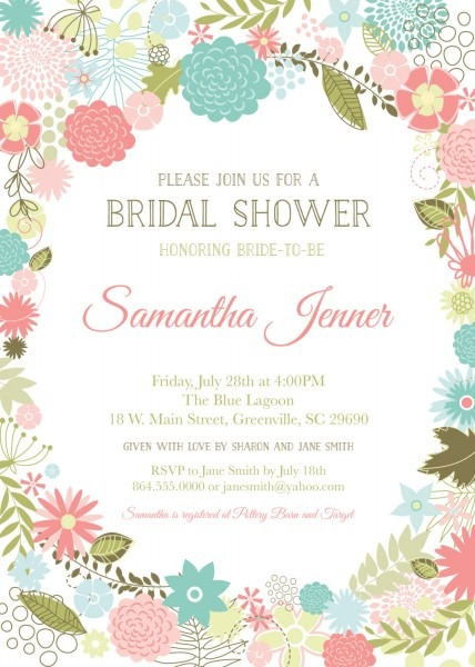 Retro Modern Flowers Bridal Baby Shower Invitations, Floral