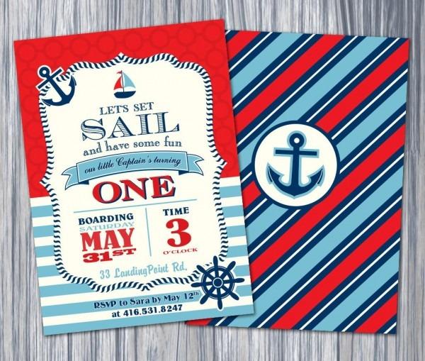 Nautical 1st Birthday Invitation Nautical Invite Printable
