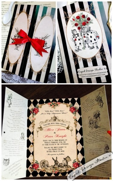 Elegant Alice In Wonderland Invitation  Mad Hatter Tea Party