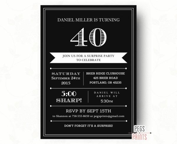 40th Surprise Birthday Invitation For Men Printable Adult