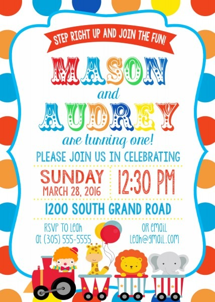 Twin Circus Birthday Party Invitation, Boy Girl Twins, Polka Dot