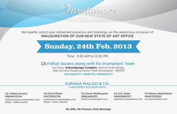Surana Maloo And Co   Invitation For Inauguration Of New Office Of