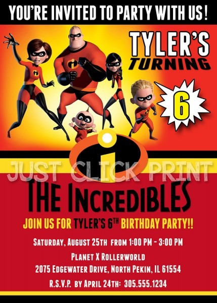 The Incredibles Family Birthday Invitation Printable · Just Click