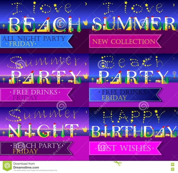 Invitation Cards To Parties  Artistic Font Stock Vector