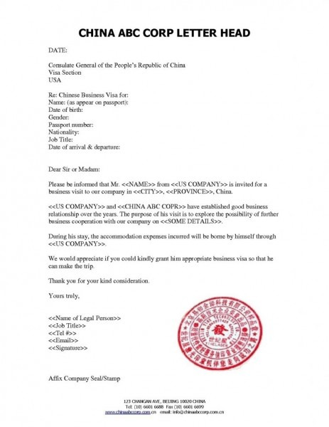 Employment Letter Sample For B1 Visa