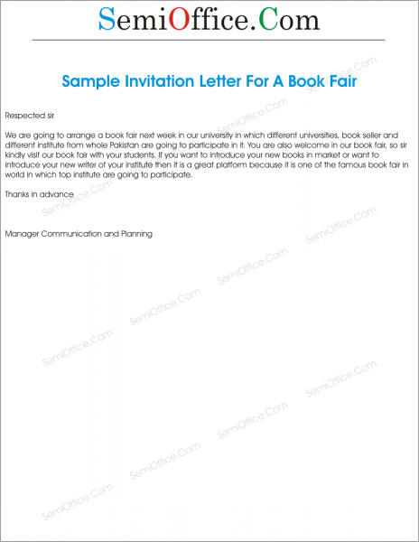 Invitation Letter To Visit Book Fair