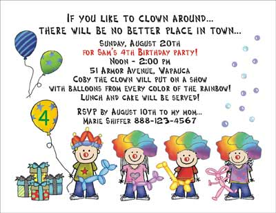 Invitationj Clown Htm Simple Custom Party Invitations