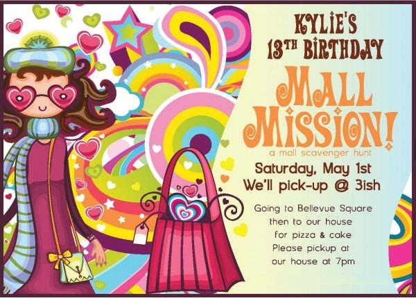 Free Printable Mall Scavenger Hunt Birthday Party Invitations