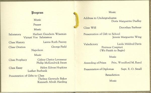 Heirlooms Reunited  1925 Graduation Program, Newport High School