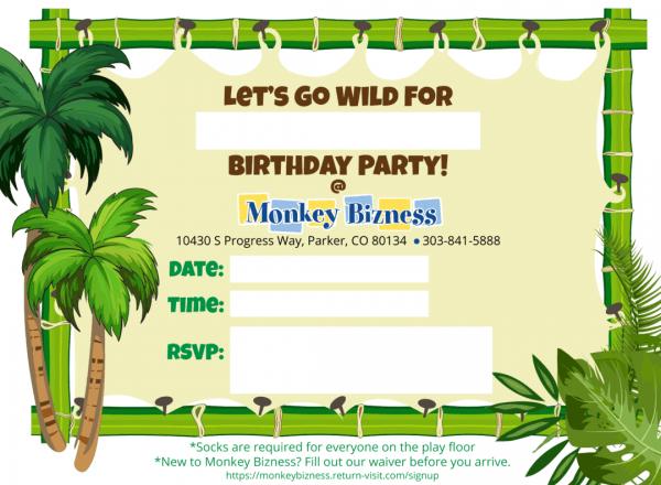 Monkey Bizness Birthday Party Invitations