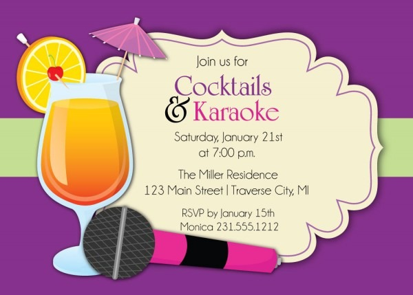 Karaoke Invitation Cocktails Great Karaoke Party Invitations