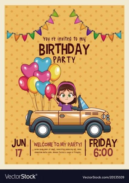 Kids Birthday Invitation Card Royalty Free Vector Image