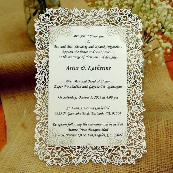 Laser Cut Rose Vine Wedding Invitation Card (invitation Card+
