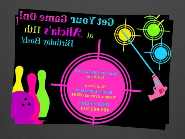 Laser Tag And Bowling Party Invitations