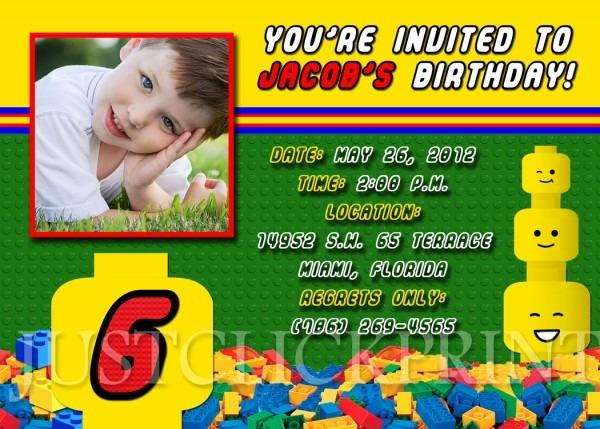 Legos Blocks Birthday Photo Invitation Printable · Just Click