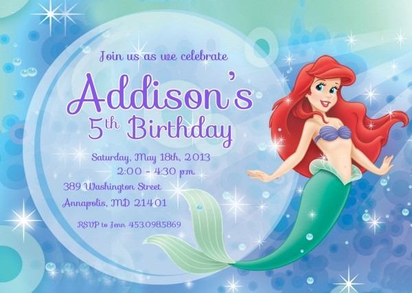 Free Printable Ariel The Little Mermaid Blue Invitation Template