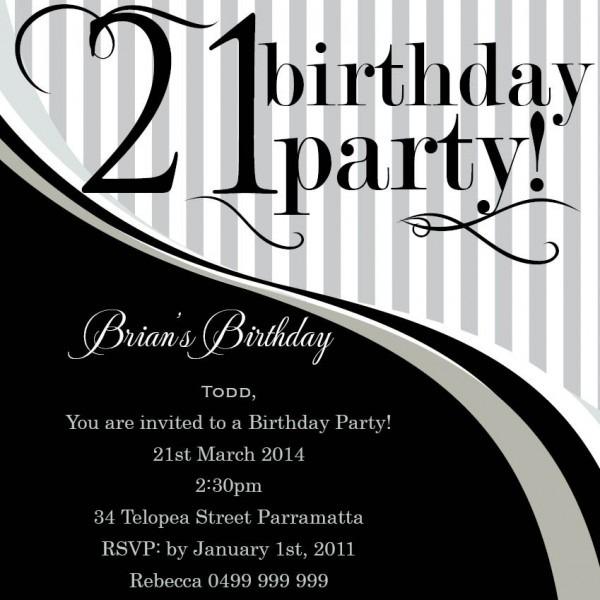 21 Birthday Invites
