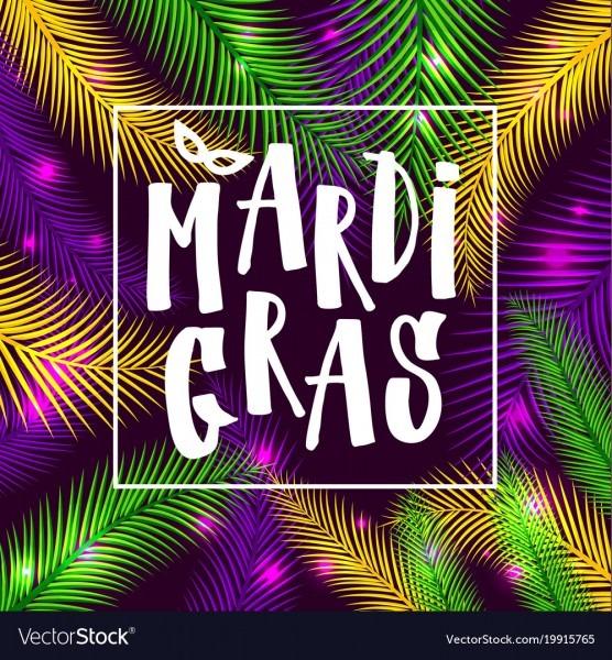 Mardi Gras Invitation Card On Palm Background Vector Image