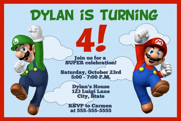 Mario Birthday Invitations Super Mario Birthday Invitations