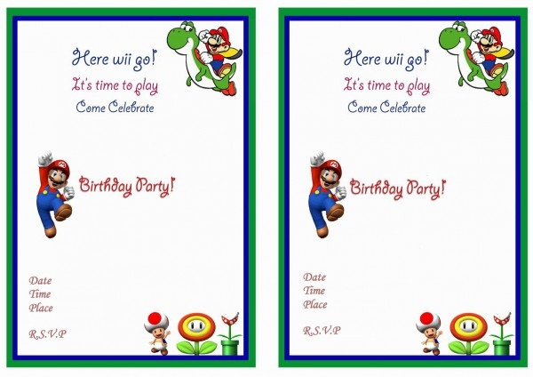 Mario Party Invitation Template Invitation Ideas Of Super Mario