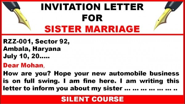 Write A Letter To Your Friend Inviting Him Her To Your Sister's