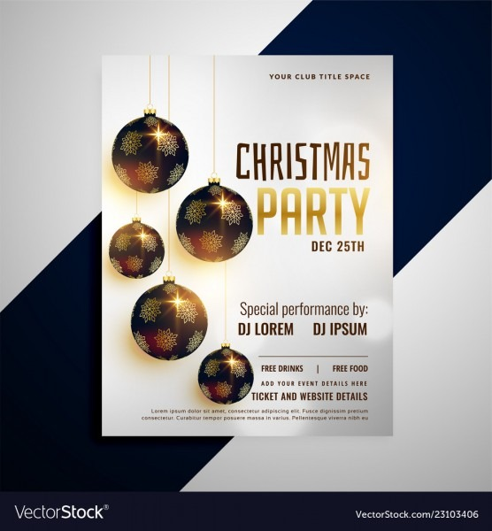 Merry Christmas Invitation Party Flyer Template Vector Image