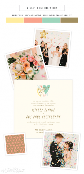 Mickey  Quirky + Cool Vintage Pastel Wedding Invitations