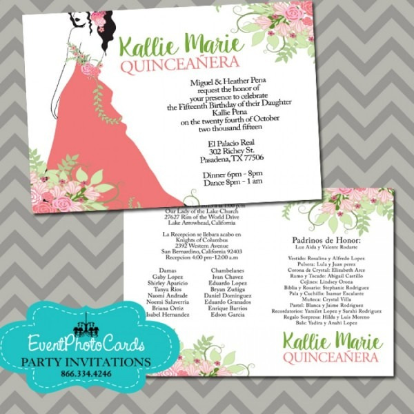 Coral And Mint Green Quinceanera Invitations, 15th Birthday Floral