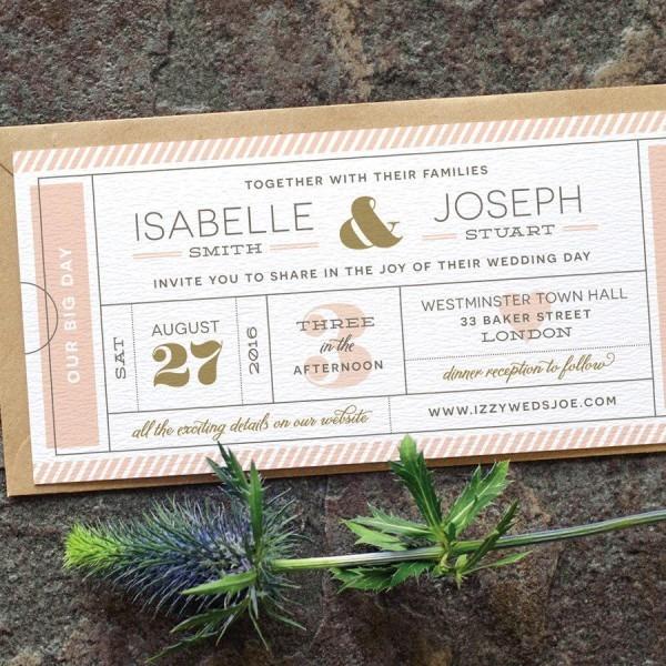 Modern Ticket Wedding Invitation   'typography Ticket' Cute