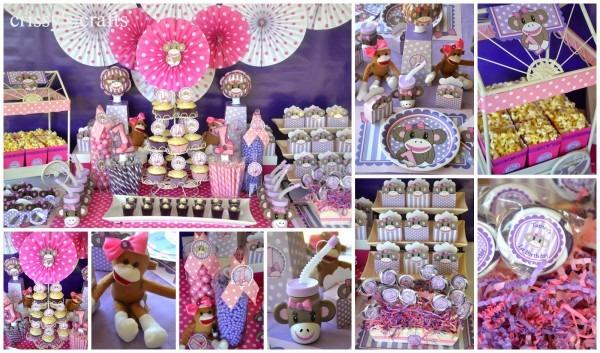 Crissy's Crafts  1st Birthday Miss Sock Monkey Party