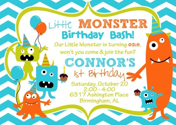 Monster Birthday Invitations Popular Little Monster Party Within