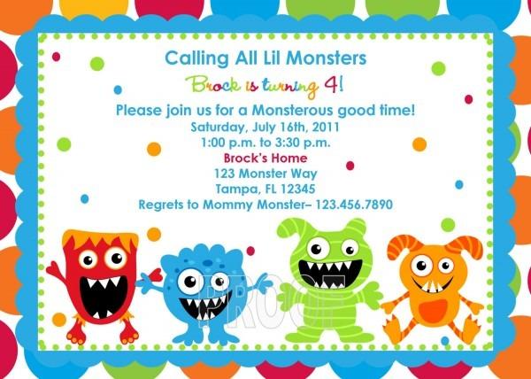 Monster Birthday Invitations Monster Birthday Invitations With