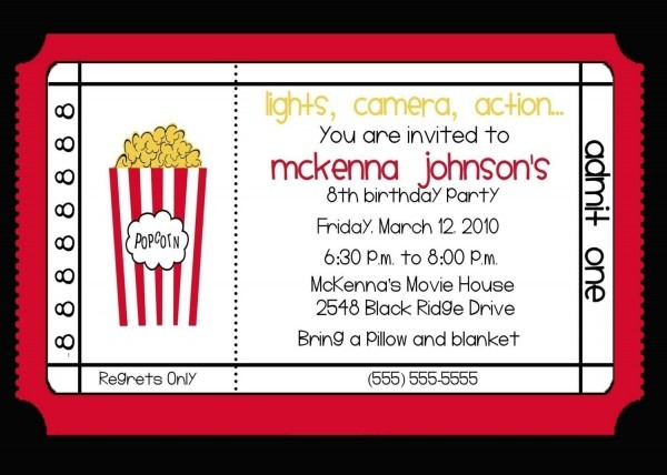 Movie Birthday Party Invitations And Magnificent Party Invitation
