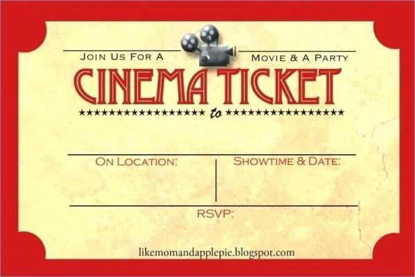 Movie Night Birthday Party Invitations Printable Best Ticket