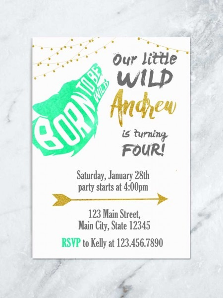 Tribal Birthday Invitation, Wild And Free Party Theme, Boy