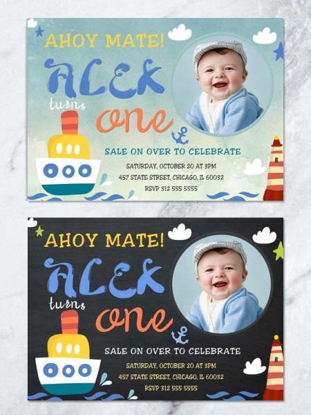 Nautical Birthday Invitation, Ahoy Captain Birthday Invitation