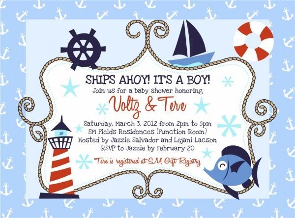 Ocean Themed Baby Shower Invitation Templates
