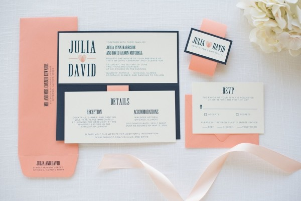 Navy Blue, Coral, And Ivory Wedding Invitation With Thumbprint