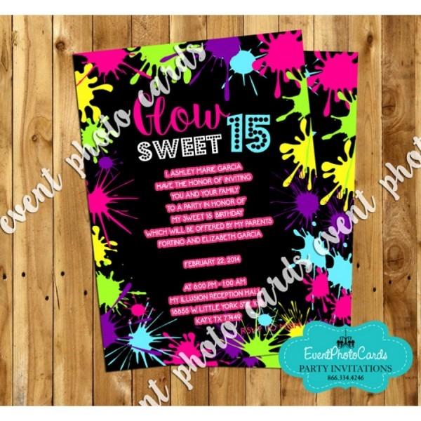 Neon Glow Sweet 15 Invites, Quinceanera Birthday Invitations
